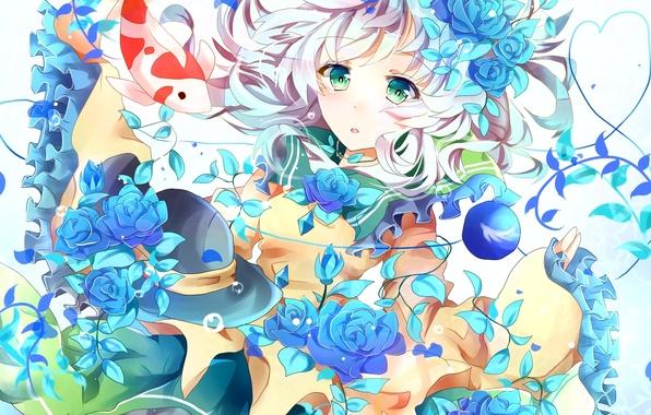 Картинка девушка, цветы, розы, рыба, шляпа, арт, touhou, komeiji koishi, azumamutuki