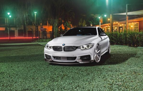 Картинка BMW, Car, Grass, Green, Front, White, Series, Sport, Vossen, Wheels, VFS1