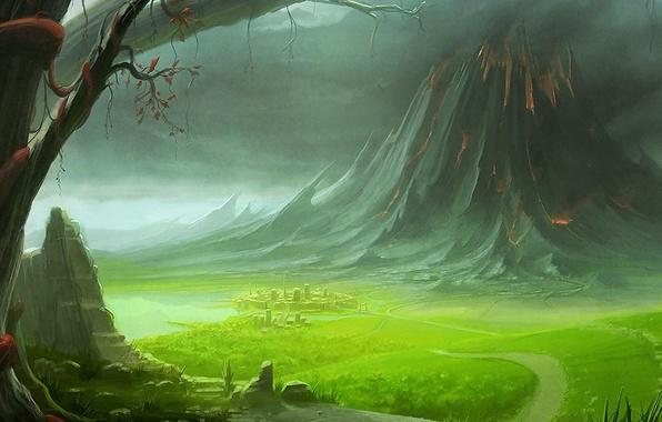 ... фото гора, рисунок, дорога, зеленый: goodfon.ru/wallpaper/gora-risunok-doroga-zelenyy.html