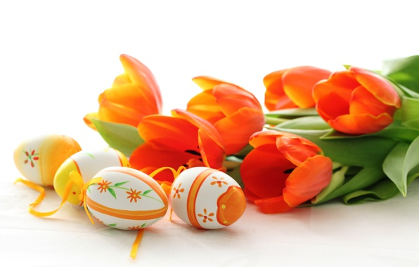 Картинка цветы, праздник, яйца, весна, Пасха, тюльпаны, красные, Easter