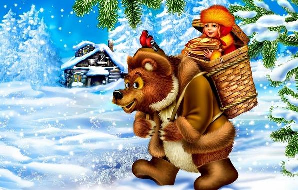Картинка снег, птицы, дом, корзина, масло, сказка, медведь, девочка, блины, масленица, снегири