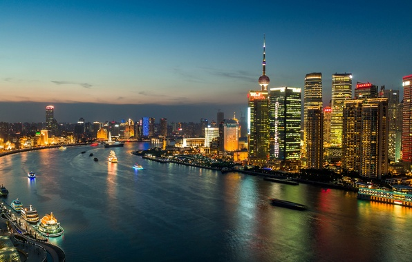 Картинка огни, China, здания, панорама, Китай, Shanghai, Шанхай, ночной город, небоскрёбы, река Хуанпу, Huangpu River