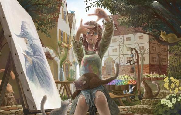 Картинка девушка, деревья, кошки, цветы, рисунок, масло, дома, картина, кролик, чаепитие, мастерская, Art, ландыши, холст, художница, …