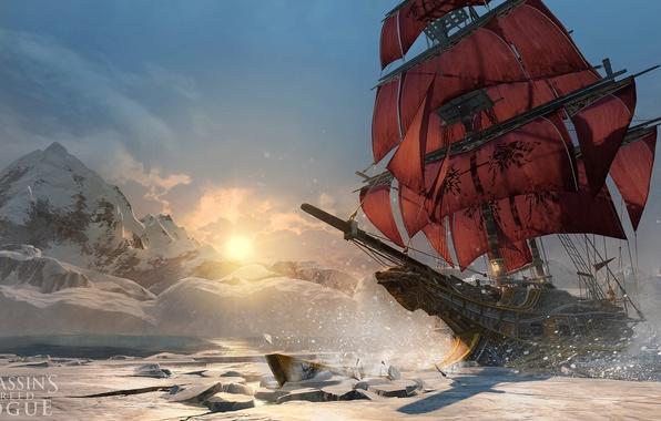 Картинка зима, море, корабль, северное сияние, паруса, Убийца, асасин, охотник, Assassin's Creed, Асасинс Крид Изгой, Assassin's …