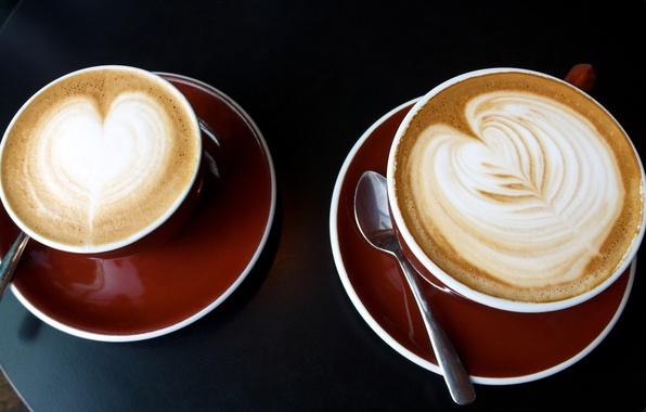Картинка пена, узор, две, кофе, еда, утро, чашки, капучино, два, столик, ням-ням, morning, блюдца, coffee, cappuccino, …