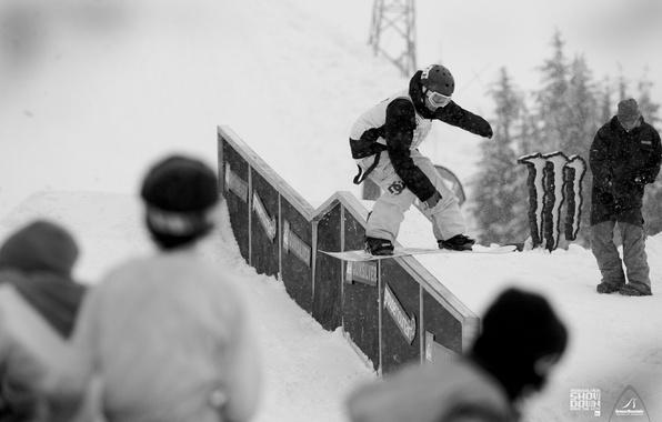 Картинка фото, соревнования, сноуборд, сноубординг, спуск, спорт, черно-белое, парни, адреналин, Экстрим, snowboarding, extreme