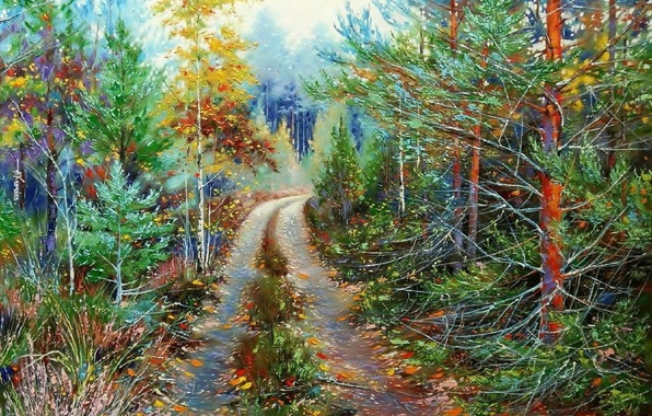 Картинка пейзаж, природа, масло, картина, живопись, холст, лесная дорога, Ходюков