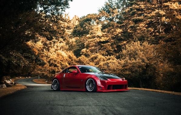 Картинка дорога, осень, красный, red, Nissan, ниссан, 350Z, stance, обвес