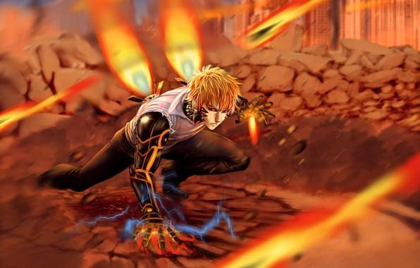 Картинка огонь, робот, парень, anime, art, cyborg, One Punch Man, OnePunch Man, genos