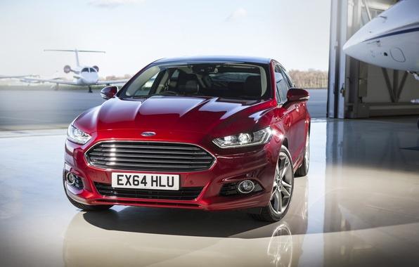 Картинка фото, Ford, Автомобиль, Бордовый, Спереди, Mondeo, 2015, Металлик
