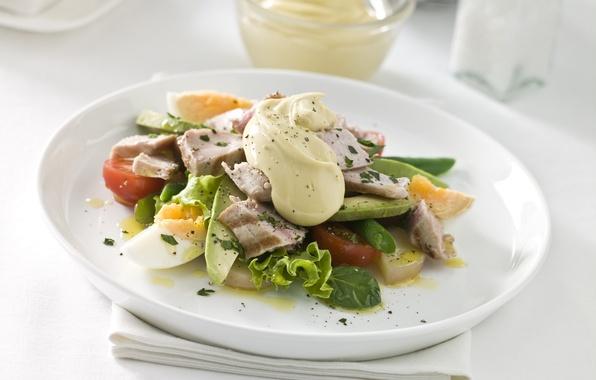 Картинка яйцо, мясо, fresh, помидор, салат, авокадо, майонез, avocado, tomato, Salad