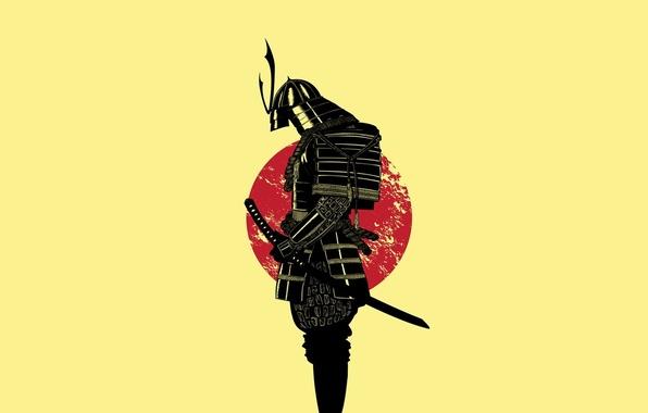 Картинка солнце, меч, воин, Самурай