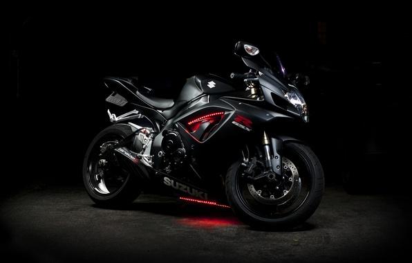 Картинка чёрный, неон, мотоцикл, Suzuki, black, bike, сузуки, GSX-R 750