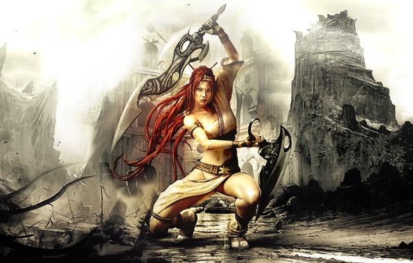 Картинка девушка, город, оружие, воин, Heavenly Sword, руины, мечи, Nariko