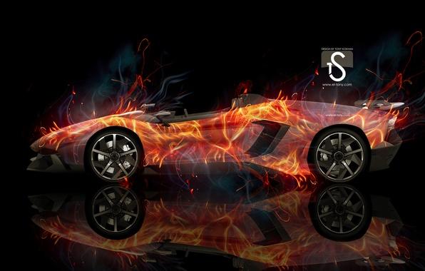 Картинка car, abstract, lamborghini, background, lines, aventador, rendering, reflections, genova