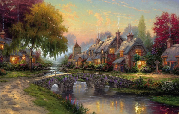 Картинка лето, мост, река, картина, summer, живопись, bridge, art, Томас Кинкейд, painting, picture, Thomas Kinkade, cottage, …