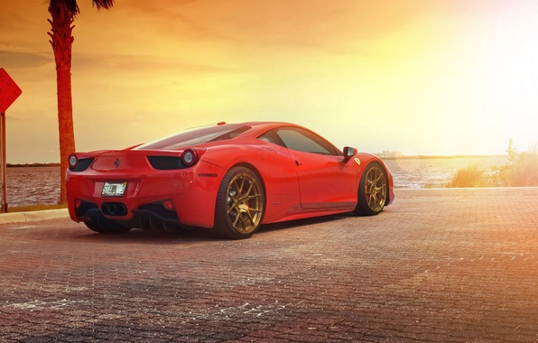 Картинка Ferrari, Red, 458, Sun, Sunset, Italia, Sea, Supercar, Rear