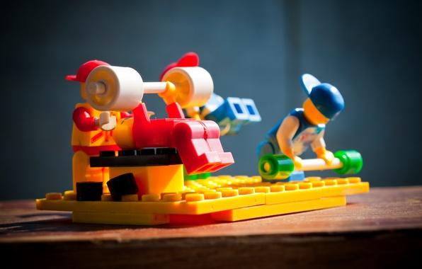 Картинка макро, спорт, игрушки, конструктор, lego, штанга, Качки, качалка, жим