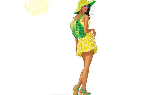 Картинка лето, девушка, солнце, стиль, спина, вектор, шляпа, платье, очки, рюкзак