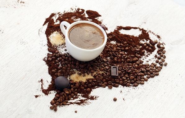 Картинка сердце, кофе, шоколад, зерна, печенье, чашка, сахар, белая