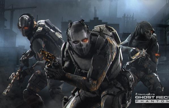 Картинка оружие, стройка, маска, лого, капюшон, солдаты, logo, призраки, Ubisoft, бойцы, голограмма, бронежилет, DLC, спецотряд, Ghost …