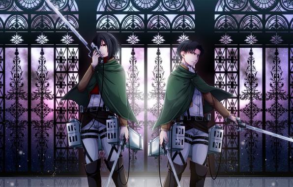 Картинка девушка, оружие, парень, двое, Attack on Titan, Shingeki no Kyojin, Mikasa Ackerman, Rivaille, Levi