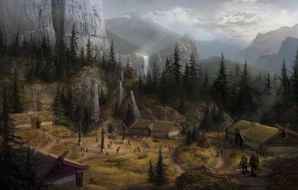 Обои картинки фото dragon age concept art горы