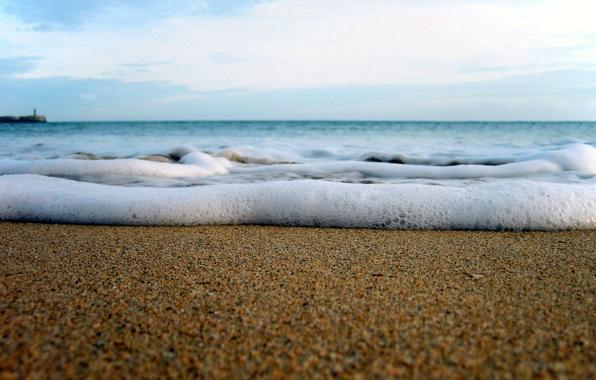 Картинка песок, море, волны, небо, свобода, пена