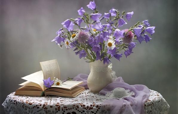 Картинка нежность, ромашки, букет, шляпа, книга, колокольчики