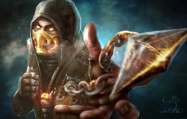 Картинка игра, арт, персонаж, Scorpion, Mortal Kombat X