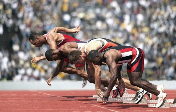 Картинка спорт, бег, спринт, старт, кроссовки, стадион, легкая атлетика