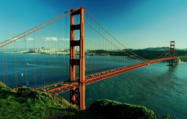 Картинка река, Мост, Сан-Франциско, Золотые Ворота