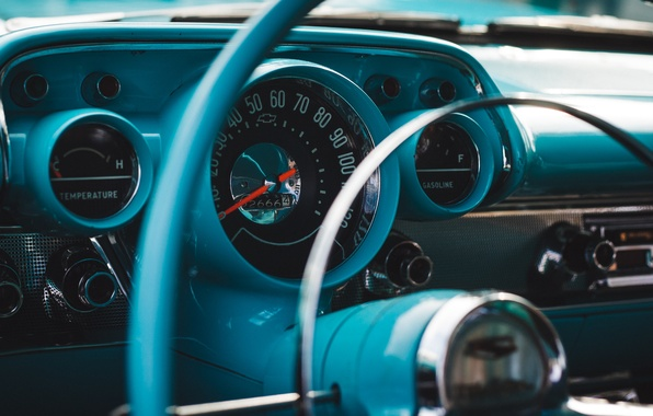 Картинка ретро, Chevrolet, руль, классика, Bel Air