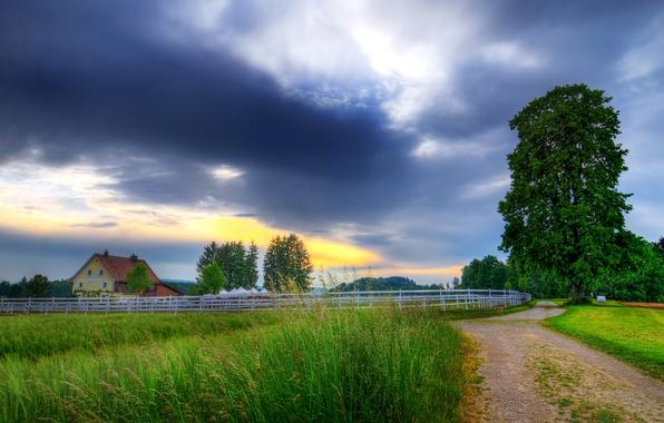 Картинка закат, фото, Небо, Природа, Облака, Дорога, Рассвет, Пейзаж