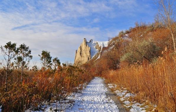 Картинка дорога, осень, небо, снег, скала