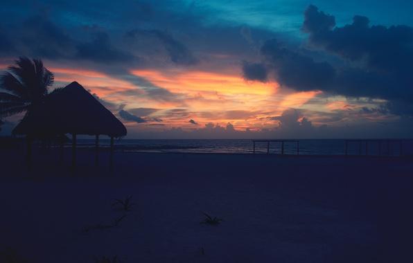 Картинка море, пляж, небо, Sunrise