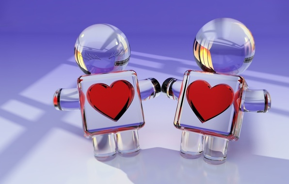 Картинка стекло, отражение, сердце, человечки, рендер
