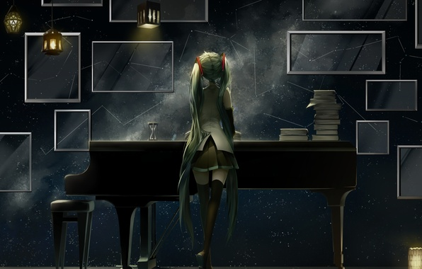 Картинка девушка, аниме, рояль, арт, vocaloid, hatsune miku, фонарики, saihate