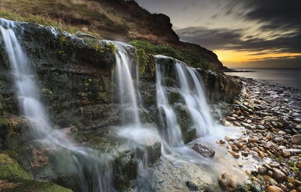 Картинка Sunset, Sunrise, Waterfall, Dorset, Jurassic Coast, Osmington Mills