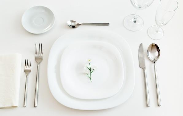 Картинка цветок, бокалы, тарелка, нож, блюдце, вилки, ложки, сервировка