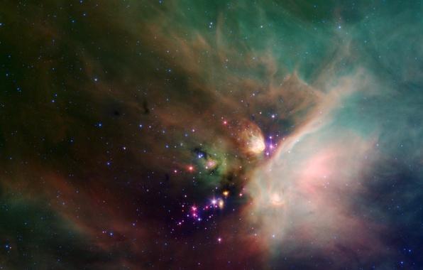 Картинка туманность, пыль, созвездие, Змееносец, звездообразование