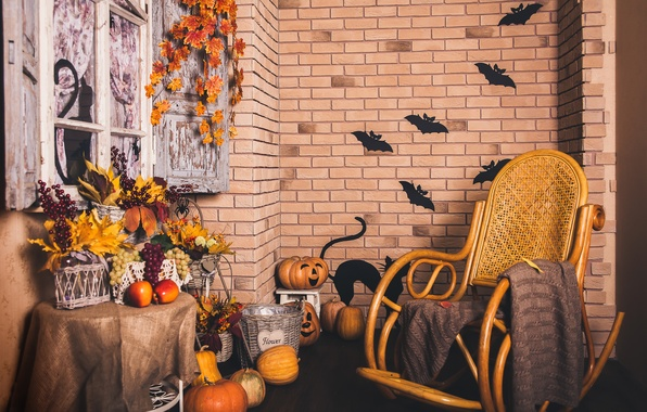 Картинка осень, листья, стена, корзина, кирпич, кресло, окно, виноград, тыква, Хэллоуин, halloween, autumn, grapes, pumpkin, Holidays, …