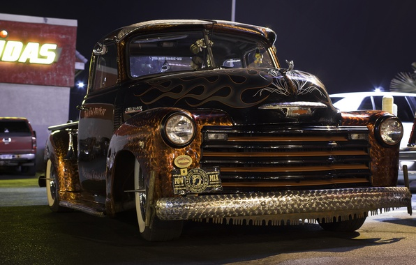 Картинка ретро, Chevrolet, классика, пикап, pickup