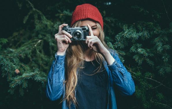 Картинка девушка, камера, фотоаппарат, фотограф, Contax