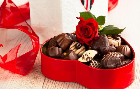 Картинка шоколад, розы, конфеты, love, rose, heart, romantic, Valentine's Day