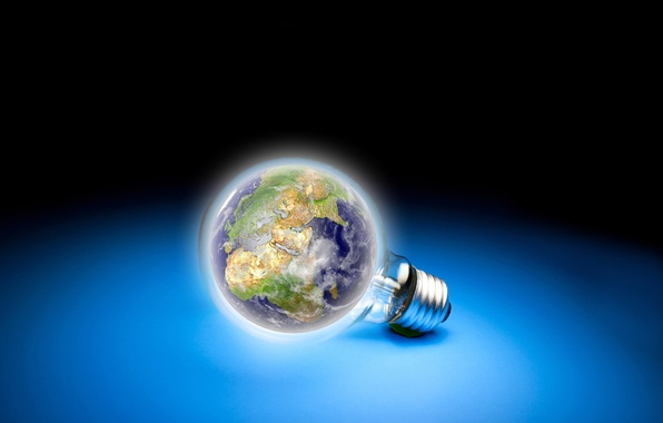 Картинка лампочка, абстракция, креатив, планета, позитив, арт, Земля, источник, стеклянная, лампа накаливания, излучатель, колба, света, wallpaper., …