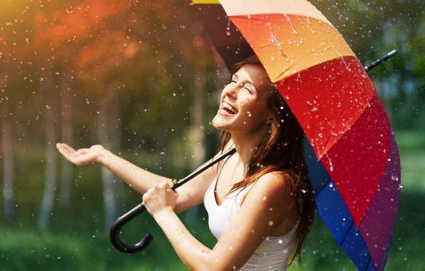 Картинка дождик, лето, девушка, солнце, капли, радость, счастье, улыбка, зонтик, фон, дождь, обои, настроения, позитив, зонт, …