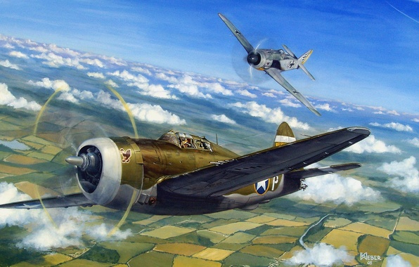 Картинка aircraft, war, art, airplane, painting, aviation, drawing, ww2, dogfight, air combat, p 47 thunderbolt