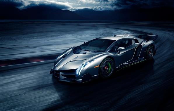 Картинка движение, скорость, Lamborghini, front, Veneno