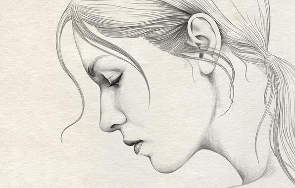 Картинка девушка, бумага, рисунок, портрет, профиль, карандаш, живопись, art, Diego Fernandez